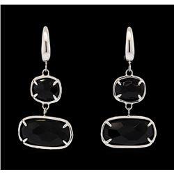 14KT White Gold Ladies Faceted Black Gemstone Dangle Earrings