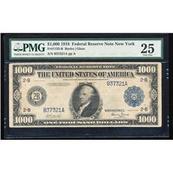 1918 $1,000 Federal Reserve Note New York Fr.1133-B PMG Very Fine 25