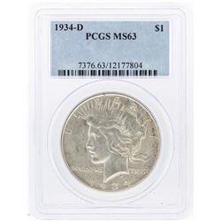 1934-D $1 Peace Silver Dollar Coin PCGS MS63