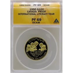 1990 Canada $100 International Literacy Gold Proof Coin ANACS PF69DCAM