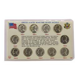 1942-1945 United States Wartime Silver Nickel Set