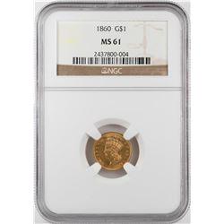 1860 $1 Indian Princess Head Gold Dollar Coin NGC MS61