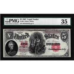 1907 $5 Woodchopper Legal Tender Note Fr.90 PMG Choice Very Fine 35