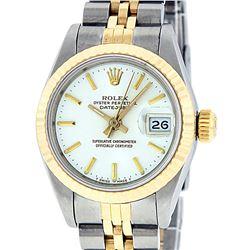 Rolex Ladies Two Tone 14K White Index Fluted Datejust Wristwatch