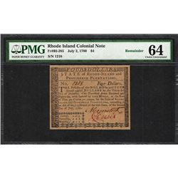 July 2, 1780 $4 Rhode Island Colonial Currency Note Fr.RI-285 PMG Uncirculated 64