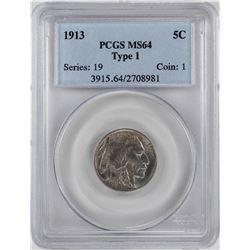 1913 Type 1 Buffalo Nickel Coin PCGS MS64
