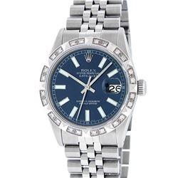 Rolex Men's Stainless Steel 36MM Blue Index Diamond Datejust Wristwatch