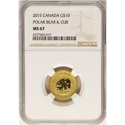 2015 $10 Canada Polar Bear Gold Coin NGC MS67