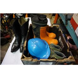 SPIKED RUBBER BOOTS, HARDHAT, BLACK LEATHER BOOTS
