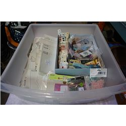 BIN OF BUTTONS, SEWING NOTIONS, IRON ON TRANSFERS