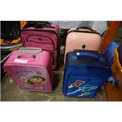 LOT OF PINK AND BLUE LUGGAGE