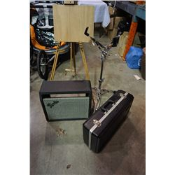 FENDER SPEAKER, SNARE DRUM STAND, INSTRUMENT HARD CASE, AND EASEL