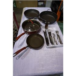 2 ROCK PANS, KITCHENAID PANS AND TRAY OF CUTLERY
