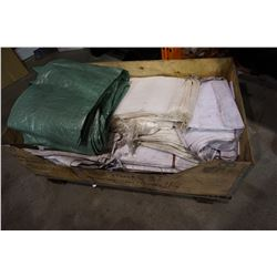 CRATE OF SACKS AND TARPS