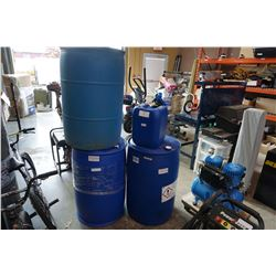 3 45 GALLON PLASTIC BARRELS AND WATER JUG