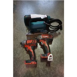 2 MILWAUKEE CORDLESS IMPACT GUNS AND MAKITA JIGSAW