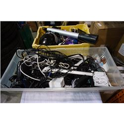 2 TOTES OF WIRE AND CHARGERS