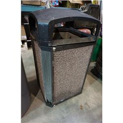 LARGE WASTE BIN WITH DECORATIVE ROCK SIDES