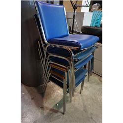 5 BLUE STACKING CHAIRS 2 W/ ARMS