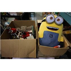 2 BOXES OF XMAS DECOR AND MINIONS STUFFY
