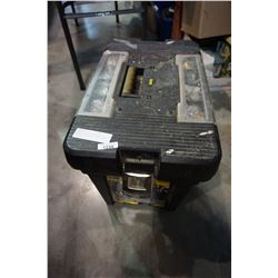 STANLEY ROLLING TOOLBOX W/ SANDER, SAW CAT, CIRCULAR SAW, AND TOOLS