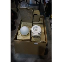 BOX OF LIGHT FIXTURES AND SHADES