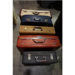 5 VINTAGE SUITCASES W/ BOX OF ESTATE GOODS AND BABY GATE