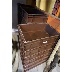 LOT OF BROWN PLASTIC BINS