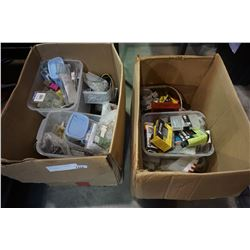2 BOXES OF VARIOUS HARDWARE AND FASTENERS