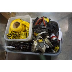 TOTE OF CAUTION TAPE, RESPIRATORS, AND CARTRIDGES