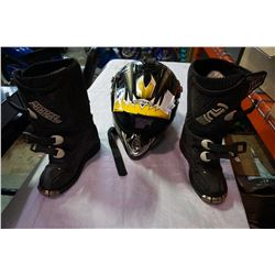 KIDS MOTOR CROSS BOOTS AND HELMET