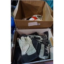BOX OF WORK GLOVES AND FIRE EXTINGUISHER AND ALARMS