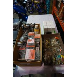 BOX OF SCREWS, WHEEL CLEANER, HARDWARE, AND ADAPTERS