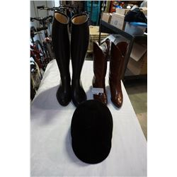 RIDING BOOTS AND HELMET W/ PAIR OF LEATHER BOOTS