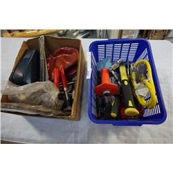 BOX AND BLUE BASKET OF TOOLS AND CLAMPS