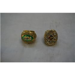 2 NEW REPRO SUPERBOWL RINGS, PITTSBURGH STEELERS AND GREENBAY PACKERS