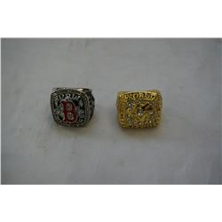 2 NEW REPRO WORLD SERIES RINGS TORONTO BLUEJAYS AND BOSTON REDSOX