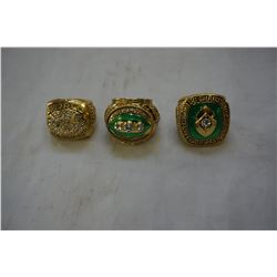 3 NEW REPRO GREENBAY PACKERS SUPERBOWL RINGS