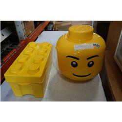 LEGO HEAD STORAGE CASE W/ LEGO AND LEGO CASE W/ LEGO