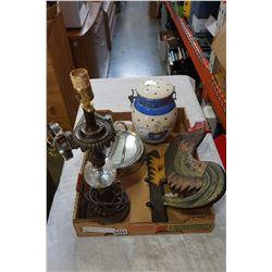 LIGHT UP VANITY MIRROR, BISCOTTI JAR, ROOSTER COAT HANGER, AND LAMP