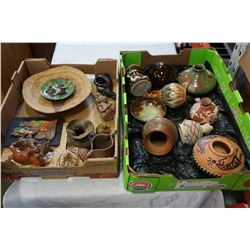 2 TRAYS OF STUDIO AND OTHER POTTERY