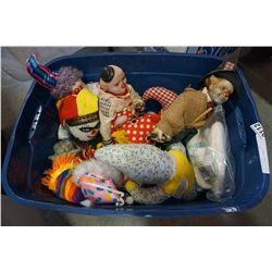 TOTE OF CLOWN DOLLS