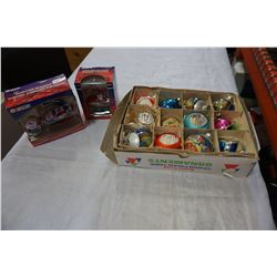VINTAGE XMAS TREE DECORATIONS AND NASCAR ORNAMENTS