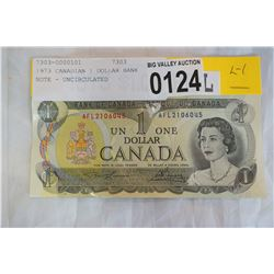 1973 CANADIAN 1 DOLLAR BANK NOTE - UNCIRCULATED