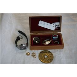 JEWELLERY BOX, JEWELLERY, PIN, EASTERN COIN