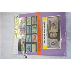 HISTORIC U.S. STAMPS AND JOHNNY CASH 1 MILLION DOLLAR BANK NOTE