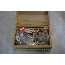 WOOD JEWELRY BOX OF PINS