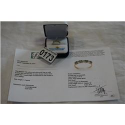 10KT YELLOW GOLD GENUINE .55CT EMERALD AND .03CT DIAMOND RING SIZE 6.5 W/ APPRAISAL $1000