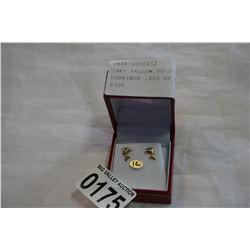 """14KT YELLOW GOLD """"DOLPHIN"""" EARRINGS .42G OF GOLD - RETAIL $300"""