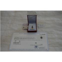 10KT WHITE GOLD 7x5mm GENUINE 1CT SAPPHIRE AND .04CT DIAMOND PENDANT W/ APPRAISAL $2800